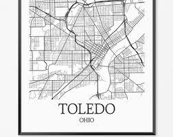 toledo ohio map toledo poster etsy