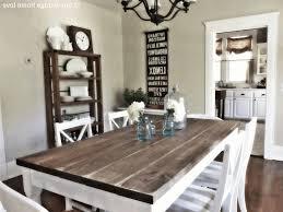 rustic wood dining room table brown wooden flooring light grey wallpaint rectangular rustic