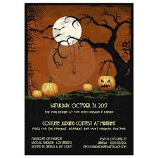 cute owl and pumpkins halloween party invitation