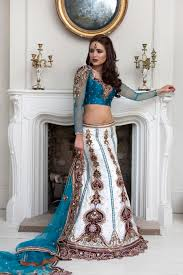 engagement lengha wg12 teal blue traditional sleeve blouse with an ivory