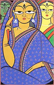 three vaishnavis krishna devotees wood paintingsindian paintingsfolk art