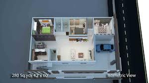60 sq feet way2nirman 280 sq yds 42x60 sq ft north face house 3bhk isometric