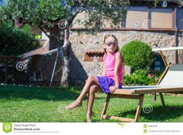 Beach Lounger Adorable Little On Beach Lounger Outdoors Stock Photo Image