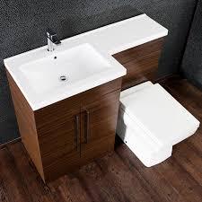 Bathroom Furniture Walnut by Maze L Shaped Furniture Walnut Combo Vanity And W C Unit Left