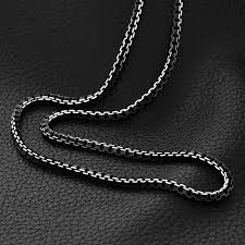 man necklace steel images Collare men chain black necklace 55cm 6mm box link chain necklaces jpg