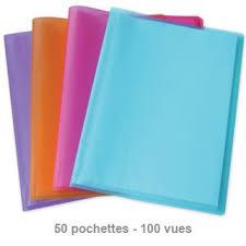 fournitures de bureau fiducial protège documents fiducial translucides a4 50poches assortis