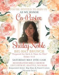 big hat brunch invitations big hat brunch honoring co pastor shirley noble tickets mon