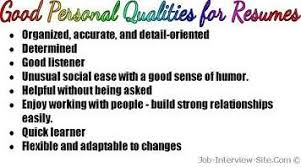Sample Of Objectives In A Resume by Good Personal Qualities List Of Personal Qualities For Resumes