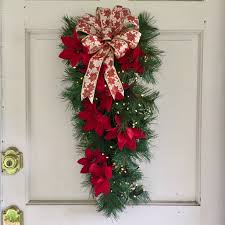 lighted christmas wreath faux pine swag w red poinsettias