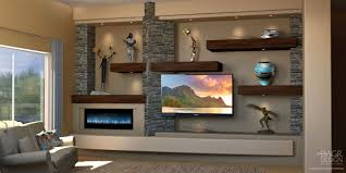 and fireplace custom a wall home entertainment center design with wood floating shelves and stacked stone accents