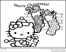 hello kitty christmas coloring pages ginormasource kids