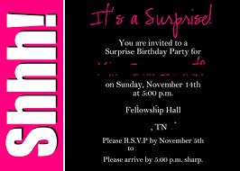 surprise party invitation wording template best template collection