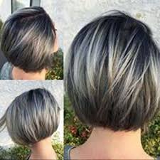 pictures of womens short dark hair with grey streaks 25 best short straight layered bob hairstyles grey highlights