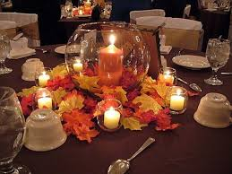 wedding centerpieces cheap floating candle alternative also use fall leaf confetti only
