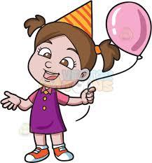 birthday girl a birthday girl with balloon clipart vector