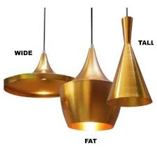 reproduction of tom dixon beat shade wide pendant lamp gold