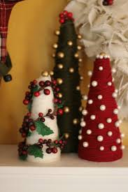 yarn wrapped styrofoam christmas trees via hey little mother