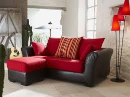 canapé cuir et tissu arles 2 places couleur fraise 37318