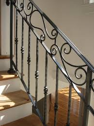 wondrous handcrafted black wrought iron hand railing for wooden