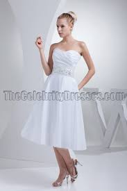 white strapless a line tea length wedding dresses