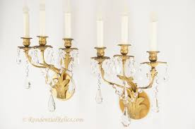 Candelabra Wall Sconces Pair Of Antique Gilt Bronze And Crystal Wall Sconces Circa 1880s
