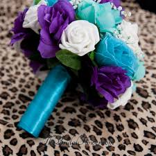 Tiffany Blue Flowers Hand Made Purple Turquoise And Aqua Teal Tiffany Blue Round