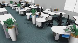 Schreibtisch Mit Kufen Großraumbüro Für 48 Mitarbeiter In Ansprechendem Design Vital Office