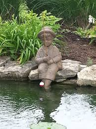Outdoor Decor Statues Amazon Com Fishing Boy Cast Stone Statue Sculpture Pond And