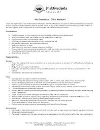 Resume For Admin Job by Office Assistant Job Description Resume 2016