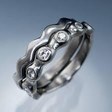 palladium jewelry moissanite half eternity bridal set wedding rings palladium size 6 8