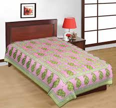 green border pink base paisley print cotton single bed sheet