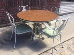 patio table with 4 chairs vintage russell woodard trianon iron patio garden round dining set 4
