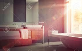 elegant sink and bathtub inside a modern home bathroom design