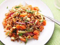 carrot and rye berry salad with celery cilantro and marcona