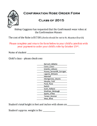 online confirmation class fillable online confirmation robe order form class of 2015 fax