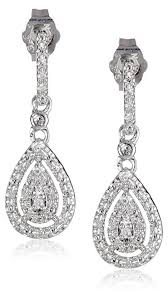 diamond earrings sterling silver and diamond drop earrings 0 14 cttw