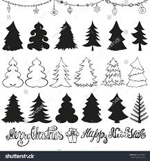 christmas tree setoutline silhouette design template stock vector