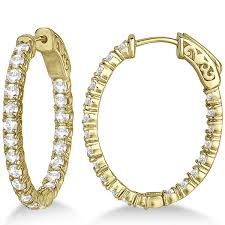 gold diamond hoop earrings small oval shaped diamond hoop earrings 14k yellow gold 2 94ct