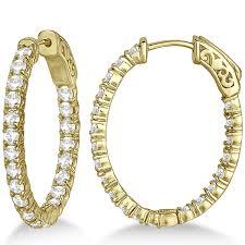 small diamond hoop earrings small oval shaped diamond hoop earrings 14k yellow gold 2 94ct