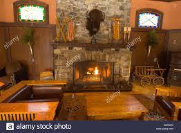 a fireplace deer lodge lake louise alberta canada stock photo