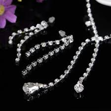 bride necklace images Silver water drop rhinestone chain bride necklace jewelry sets jpg