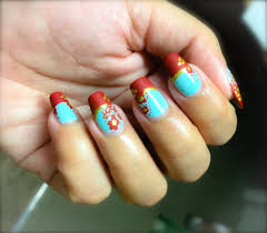 cute spring nails mint green gold and red flower nail art love