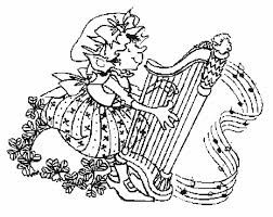 coloring activity pages female leprechaun playing harp 506103