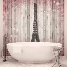 Eiffel Tower Window Curtains by Eiffel Tower Flowers Pink Wooden Wall Photo Wallpaper Mural