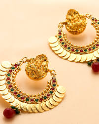 temple design gold earrings buy crescent shaped temple design earrings set with gold plating
