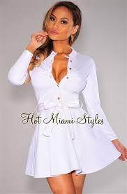 turmec white long sleeve v neck skater dress