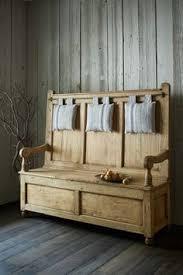 church pew monks bench seat blanket box pine shabby chic storage