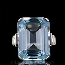 art deco aquamarine platinum diamond and ruby ring