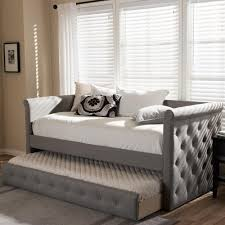 Twin Size Day Bed by Baxton Studio Alena Contemporary Gray Fabric Upholstered Twin Size
