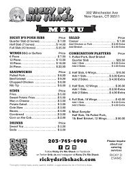 bbq menu new haven ct bbq food truck u0026 cateringricky d u0027s rib shack